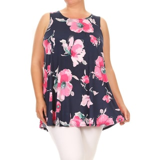 Women's Floral Pattern Plus-size Sleeveless Tank