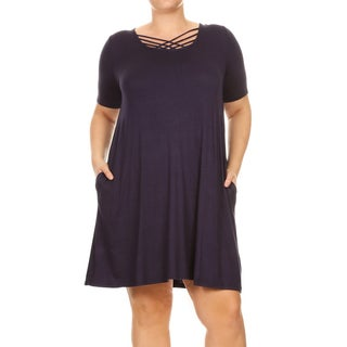 Women's Rayon and Spandex Solid Crisscross Neckline Dress