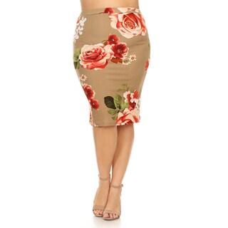 Women's Rose Pattern Plus Size Pencil Skirt