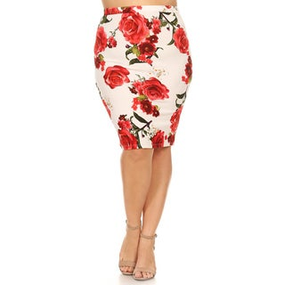 Women's Rose Pattern Plus-size Pencil Skirt