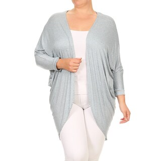 Women's Plus Size Long Body Solid Color Rayon and Spandex Open Cardigan