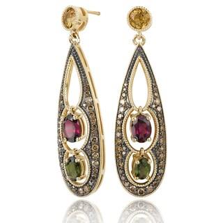 Avanti 14K Yellow Gold 1 1/6 CT TDW Cognac Diamond and Multi Gemstone Tear Drop Shaped Fancy Dangle Earrings (Brown, SI2-I1)