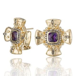 Avanti 14K Yellow Gold 1/3 CT TDW Cognac Diamond and Amethyst Cross Omega Back Earrings (Brown, SI2-I1)