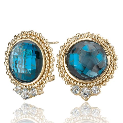 Avanti 14K Yellow Gold 15 CT TGW London Blue Topaz and Aquamarine Omega Back Earrings