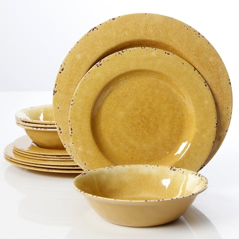Mauna 12 Piece Dinnerware Set in Yellow Crackle Look Decal