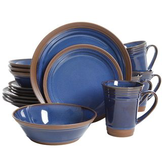 Gibson Elite Brynn 16 Pc. Dinnerware Set Cobalt  sc 1 st  Overstock.com & Blue Dinnerware For Less | Overstock.com