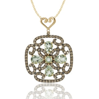Avanti 14K Yellow Gold 1 2/5 CT TDW Cognac Diamond and Green Amethyst Scroll Design Pendant Necklace (Brown, SI2-I1)