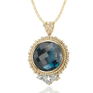 Avanti 14K Yellow Gold 27 CT TGW London Blue Topaz and Aquamarine Beaded Trim Pendant
