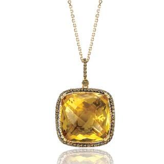 Avanti 14K Yellow Gold 1/3 CT TDW Cognac Diamnod and Cushion Cut Honey Quartz Pendant Necklace (Brown, SI2-I1)