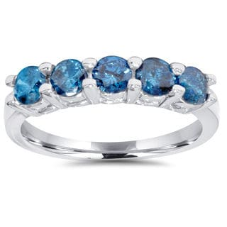 JewelMore 14k White Gold 1ct TDW Blue Diamond Five Stone Anniversary Ring