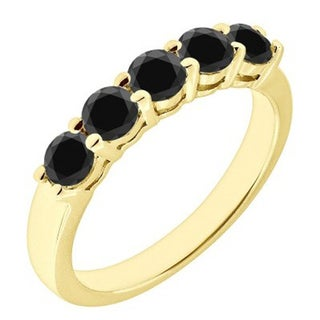 JewelMore 14k Yellow Gold 1ct TDW Black Diamond Five Stone Anniversary Ring