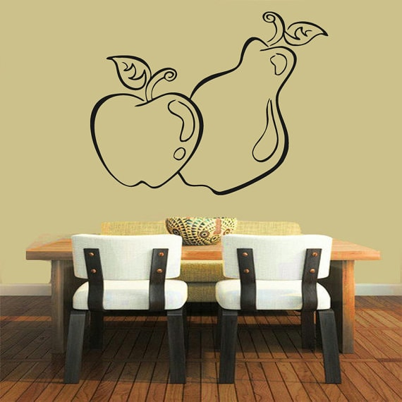 Apple Fruits Kitchen Decor Cafe Vinyl Pear Sticker Home Interior Design Living Room Decor Sticker Decal Size 33x39 Color Black On Sale Overstock 14755355
