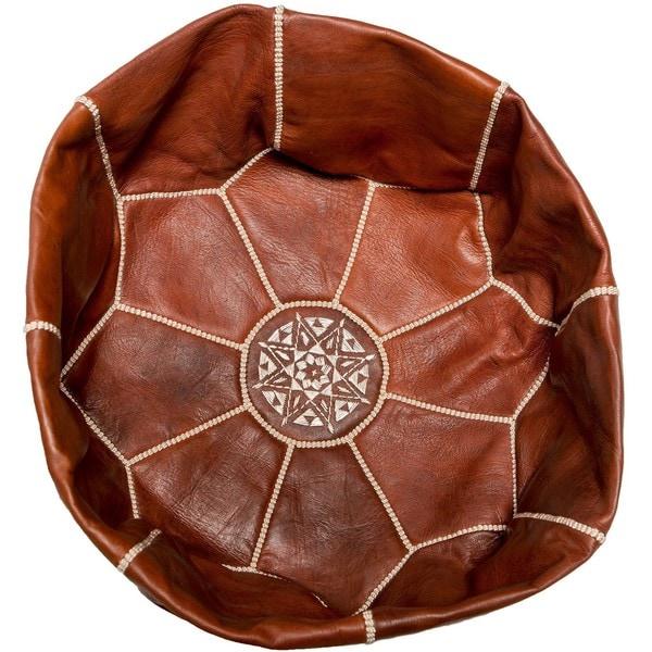 Shop Handmade Tall Pouf Ottoman Unstuffed Leather Shell Morocco Simple Tall Pouf Ottoman
