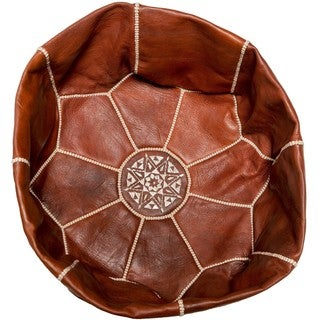 Handcrafted Tall Pouf Ottoman Unstuffed Leather Shell (Morocco)