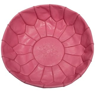 Handcrafted Pouf Ottoman Unstuffed Leather Shell (Morocco)
