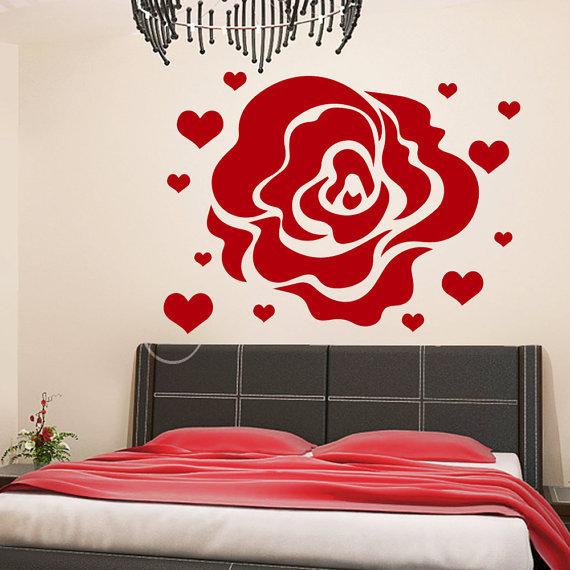 Rose Hearts Love Flowering Blossom Stickers Vinyl Sticker Art Mural Bedroom  Kids Room Decor Sticker Decal size 22x26 Color Black