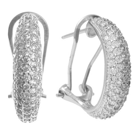 Queenberry Sterling Silver Clear CZ Crystal Omega Half Hoop Earrings