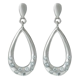 Queenberry Sterling Silver Teardrop Loop Dangle Clear CZ Crystal Chandelier Earring
