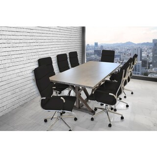 Solis Armis 9-piece Black Padded Ribbed High Back Leather Office Chairs Galvanized Iron Top Table Conference Set