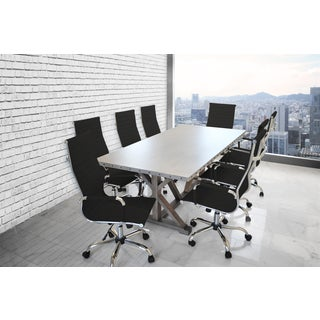 Solis Armis 9-piece Galvanized Iron Top Table Black Padded Ribbed High Back Leather Office Chairs Conference Set