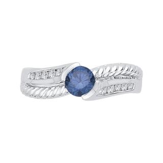 14k White Gold 3/4ct TDW Blue and White Diamond Fashion Ring