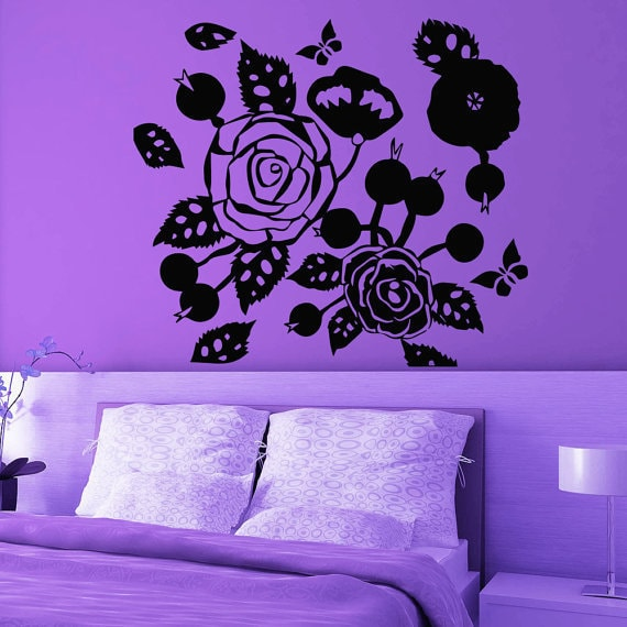 Rose Butterfly Flowering Blossom Stickers Vinyl Sticker Art Mural Bedroom  Kids Room Decor Sticker Decal size 33x33 Color Black