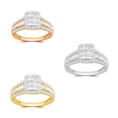Divina 10KT Gold 1ct TDW Diamond Rectangular Top Split Shank Engagement Ring