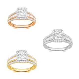 Divina 10k White Gold 1ct TDW White Diamond Rectangular Top Split Shank Engagement Ring