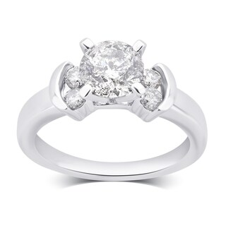 Divina 14k White Gold 1 3/4ct TDW Round Diamond Engagement Ring