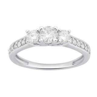 Divina 10k White Gold 3/4ct TDW White Diamond 3-Stone Engagement Ring