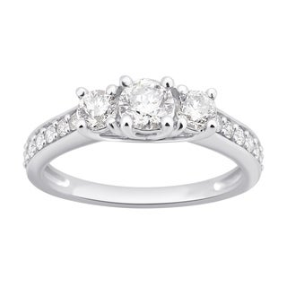 Divina 10k White Gold 1ct TDW Round Diamond 3-Stone Engagement Ring
