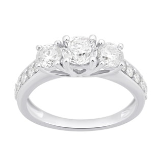 Divina 10k White Gold 1 1/2ct TDW White Diamond 3-Stone Engagement Ring