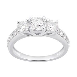 Divina 10k White Gold 1 1/2ct TDW White Diamond 3-Stone Engagement Ring