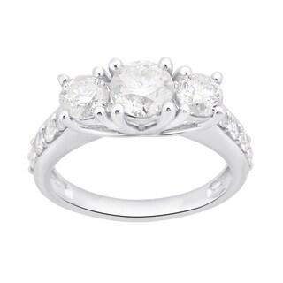 Divina 10k White Gold 2ct TDW White Diamond 3-Stone Engagement Ring (3 options available)
