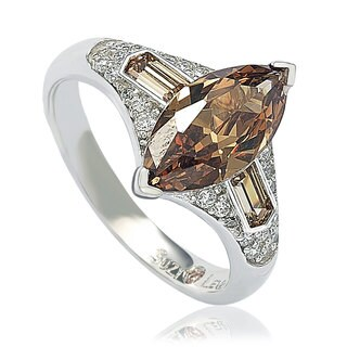 Suzy Levian Sterling Silver Brown Cubic Zirconia Marquise Ring