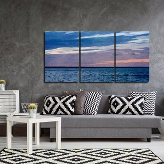 Ready2HangArt Indoor/Outdoor 3 Piece Wall Art Set (24 x 48) 'Horizon Hues' in ArtPlexi by NXN Designs - Blue