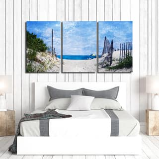 Ready2HangArt Indoor/Outdoor 3 Piece Wall Art Set (24 x 48) 'Beach Days' in ArtPlexi by NXN Designs - Blue