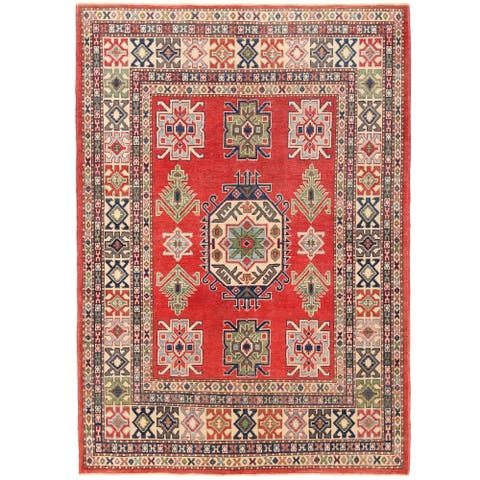Handmade One-of-a-Kind Vegetable Dye Kazak Wool Rug (Afghanistan) - 4'9 x 6'9