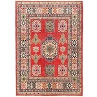 Herat Oriental Afghan Hand-knotted Vegetable Dye Kazak Wool Rug (4'9 x 6'9)