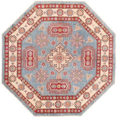 Handmade Herat Oriental Afghan Vegetable Dye Kazak Wool Rug - 6'4 x 6'4 (Afghanistan)