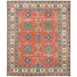 Herat Oriental Afghan Hand-knotted Vegetable Dye Kazak Wool Rug (7'11 x 9'7)