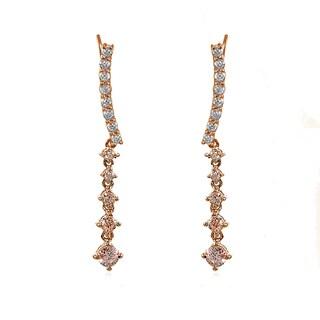 Icz Stonez 18k Rose Gold Silver Round-cut Simulated Morganite Climbing Crawler Dangle Earrings