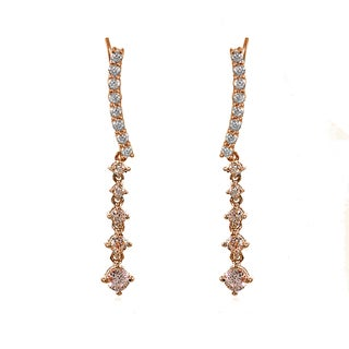 Icz Stonez 18k Rose Gold Silver Round-cut Simulated Morganite Climbing Crawler Dangle Earrings