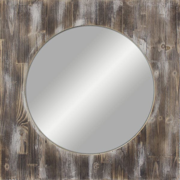 36 Inch Round Reclaimed Wood Mirror