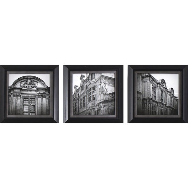 Shop Decor Therapy \'European Architecture\' Black Framed 3-piece Wall ...