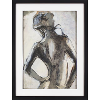 'Watercolor Sketched Figure' Black Framed Wall Art