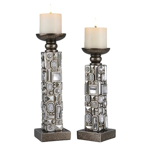 Sierra Mirrored Candle Holder Set