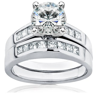 Annello by Kobelli 14k White Gold 2 1/10ct Round Moissanite (HI) and Channel Diamond Bridal Rings Set