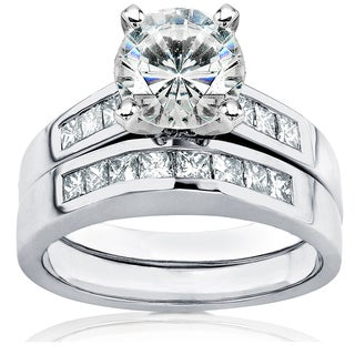 Annello by Kobelli 14k White Gold 2 1/10ct Round Moissanite and Channel Diamond Bridal Rings Set