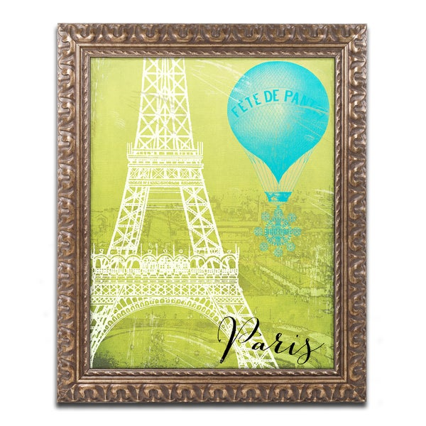 Color Bakery 'Retro Cities III' Ornate Framed Art - White